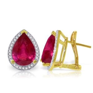 GOLD FRENCH CLIPS EARRING WITH DIAMONDS & RUBIES
